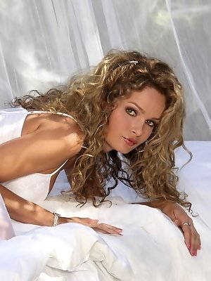 Prinzzess Felicity Jade wearing all white strips to nothing showing her tight pussy and perfect breasts
